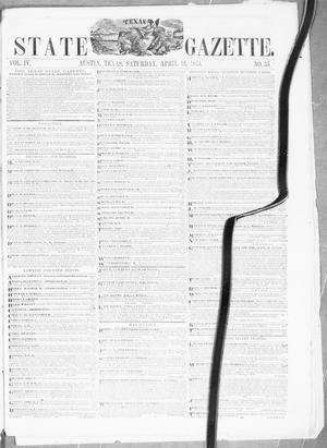 Primary view of object titled 'Texas State Gazette. (Austin, Tex.), Vol. 4, No. 35, Ed. 1, Saturday, April 16, 1853'.