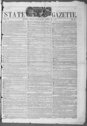 Primary view of object titled 'Texas State Gazette. (Austin, Tex.), Vol. 4, No. 37, Ed. 1, Saturday, April 30, 1853'.