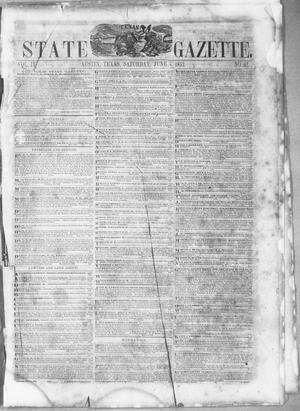 Primary view of object titled 'Texas State Gazette. (Austin, Tex.), Vol. 4, No. 42, Ed. 1, Saturday, June 4, 1853'.