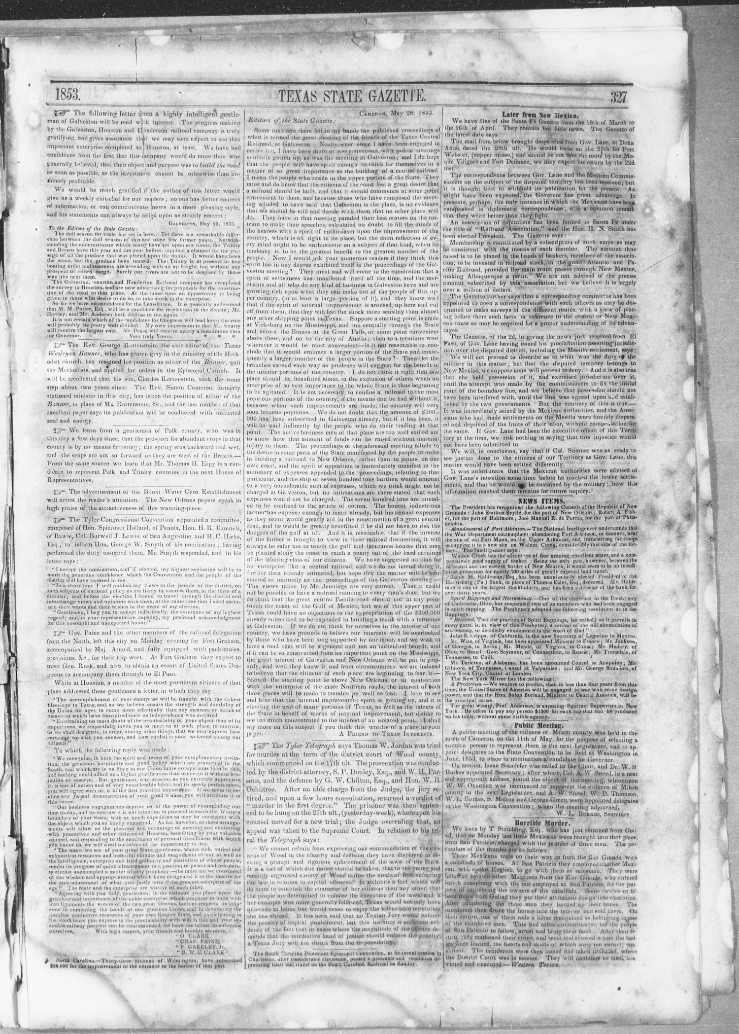 Texas State Gazette. (Austin, Tex.), Vol. 4, No. 42, Ed. 1, Saturday, June 4, 1853                                                                                                      [Sequence #]: 3 of 8