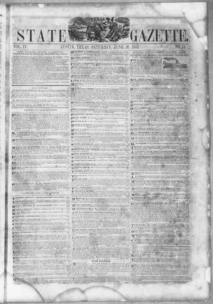 Primary view of object titled 'Texas State Gazette. (Austin, Tex.), Vol. 4, No. 44, Ed. 1, Saturday, June 18, 1853'.