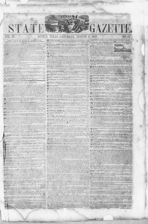 Primary view of object titled 'Texas State Gazette. (Austin, Tex.), Vol. 4, No. 51, Ed. 1, Saturday, August 6, 1853'.