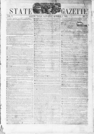 Primary view of object titled 'Texas State Gazette. (Austin, Tex.), Vol. 5, No. 7, Ed. 1, Saturday, October 1, 1853'.