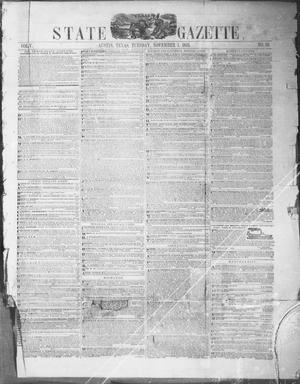 Primary view of object titled 'Texas State Gazette. (Austin, Tex.), Vol. 5, No. 10, Ed. 1, Tuesday, November 1, 1853'.