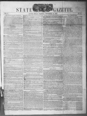 Primary view of object titled 'Texas State Gazette. (Austin, Tex.), Vol. 5, No. 14, Ed. 1, Tuesday, November 22, 1853'.