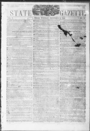 Primary view of object titled 'Texas State Gazette. (Austin, Tex.), Vol. 5, No. 16, Ed. 1, Tuesday, December 6, 1853'.