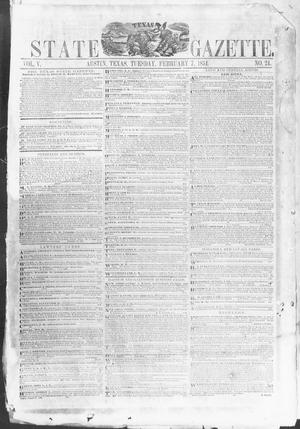 Primary view of object titled 'Texas State Gazette. (Austin, Tex.), Vol. 5, No. 24, Ed. 1, Tuesday, February 7, 1854'.