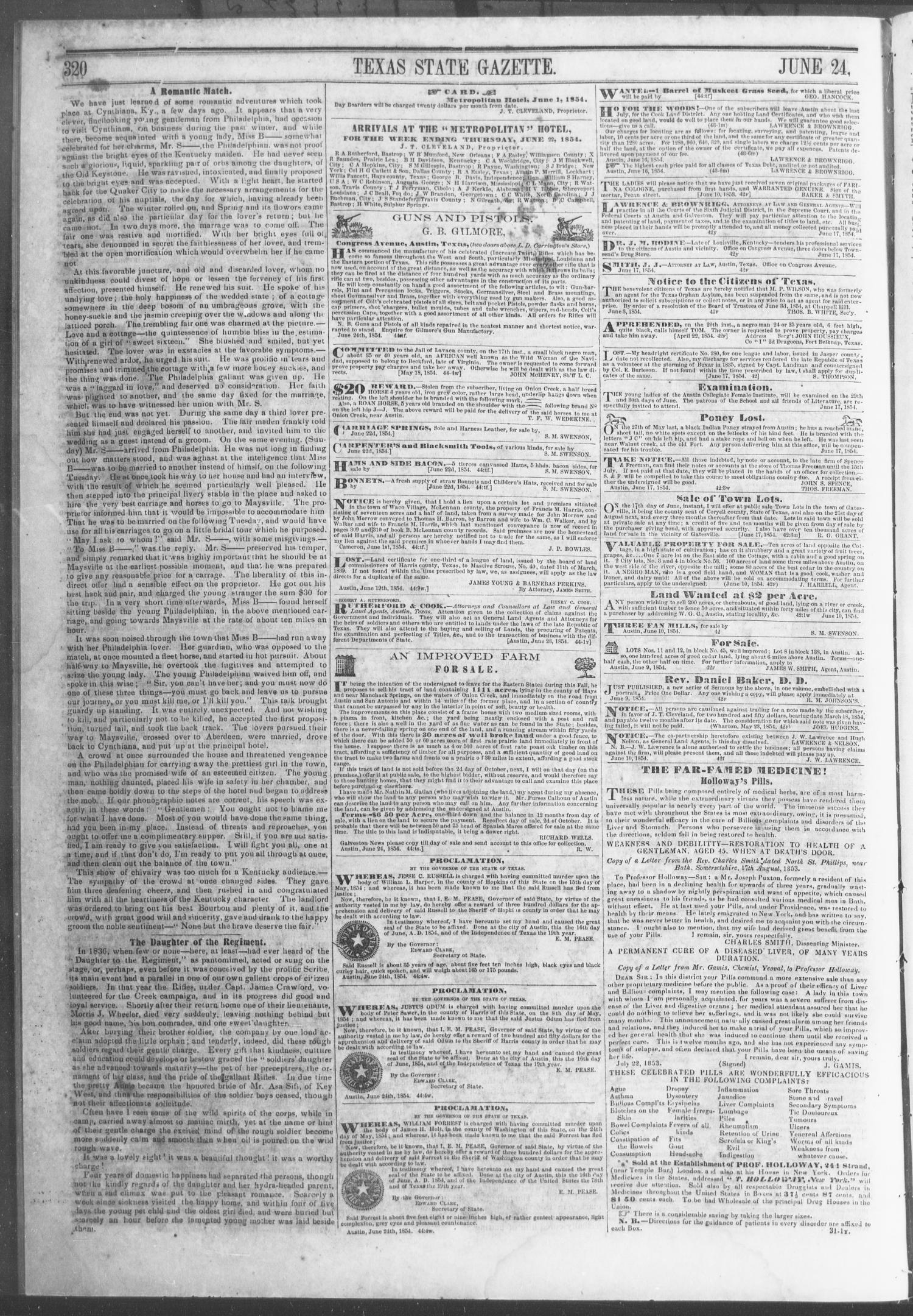 Texas State Gazette. (Austin, Tex.), Vol. 5, No. 44, Ed. 1, Saturday, June 24, 1854                                                                                                      [Sequence #]: 6 of 8