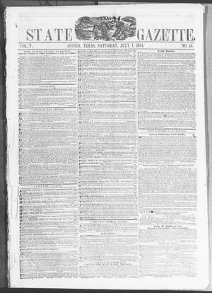 Primary view of object titled 'Texas State Gazette. (Austin, Tex.), Vol. 5, No. 45, Ed. 1, Saturday, July 1, 1854'.