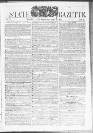Primary view of object titled 'Texas State Gazette. (Austin, Tex.), Vol. 5, No. 46, Ed. 1, Saturday, July 8, 1854'.