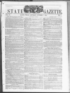 Primary view of object titled 'Texas State Gazette. (Austin, Tex.), Vol. 6, No. 7, Ed. 1, Saturday, October 7, 1854'.