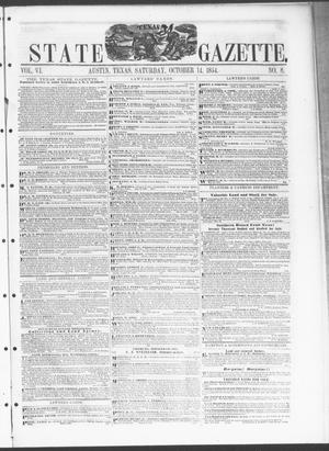 Primary view of object titled 'Texas State Gazette. (Austin, Tex.), Vol. 6, No. 8, Ed. 1, Saturday, October 14, 1854'.