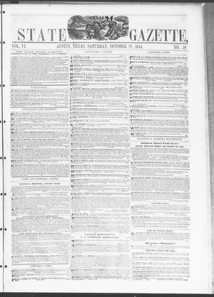 Primary view of Texas State Gazette. (Austin, Tex.), Vol. 6, No. 10, Ed. 1, Saturday, October 28, 1854