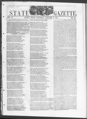 Primary view of object titled 'Texas State Gazette. (Austin, Tex.), Vol. 6, No. 20, Ed. 1, Saturday, January 6, 1855'.
