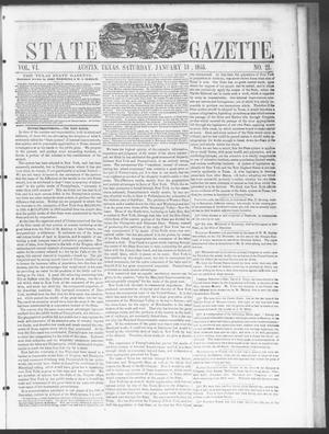 Primary view of object titled 'Texas State Gazette. (Austin, Tex.), Vol. 6, No. 21, Ed. 1, Saturday, January 13, 1855'.