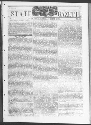 Primary view of object titled 'Texas State Gazette. (Austin, Tex.), Vol. 6, No. 28, Ed. 1, Saturday, March 3, 1855'.