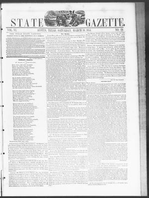 Primary view of object titled 'Texas State Gazette. (Austin, Tex.), Vol. 6, No. 29, Ed. 1, Saturday, March 10, 1855'.