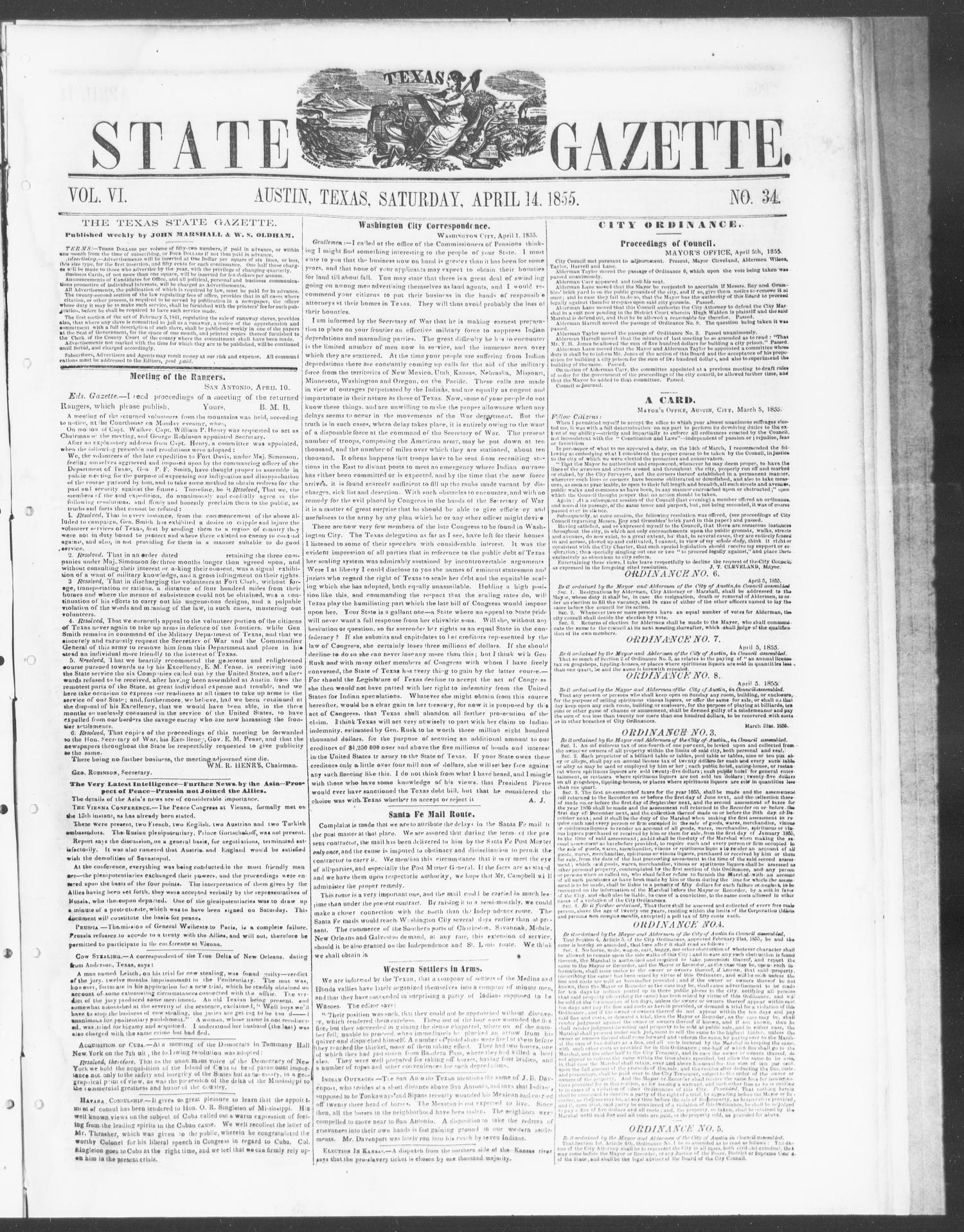 Texas State Gazette. (Austin, Tex.), Vol. 6, No. 34, Ed. 1, Saturday, April 14, 1855                                                                                                      [Sequence #]: 1 of 8