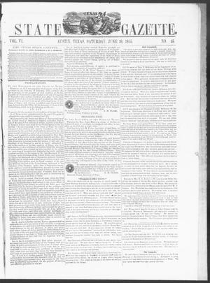 Primary view of object titled 'Texas State Gazette. (Austin, Tex.), Vol. 6, No. 45, Ed. 1, Saturday, June 30, 1855'.