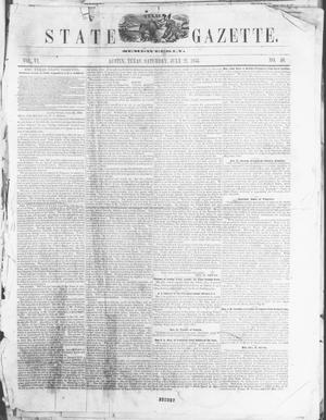 Primary view of object titled 'Texas State Gazette. (Austin, Tex.), Vol. 6, No. 50, Ed. 1, Saturday, July 21, 1855'.