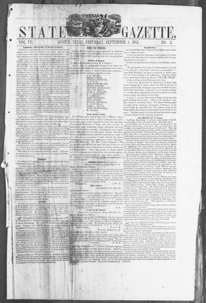 Primary view of object titled 'Texas State Gazette. (Austin, Tex.), Vol. 7, No. 3, Ed. 1, Saturday, September 8, 1855'.
