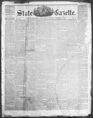 Primary view of object titled 'State Gazette. (Austin, Tex.), Vol. 7, No. 5, Ed. 1, Saturday, September 22, 1855'.