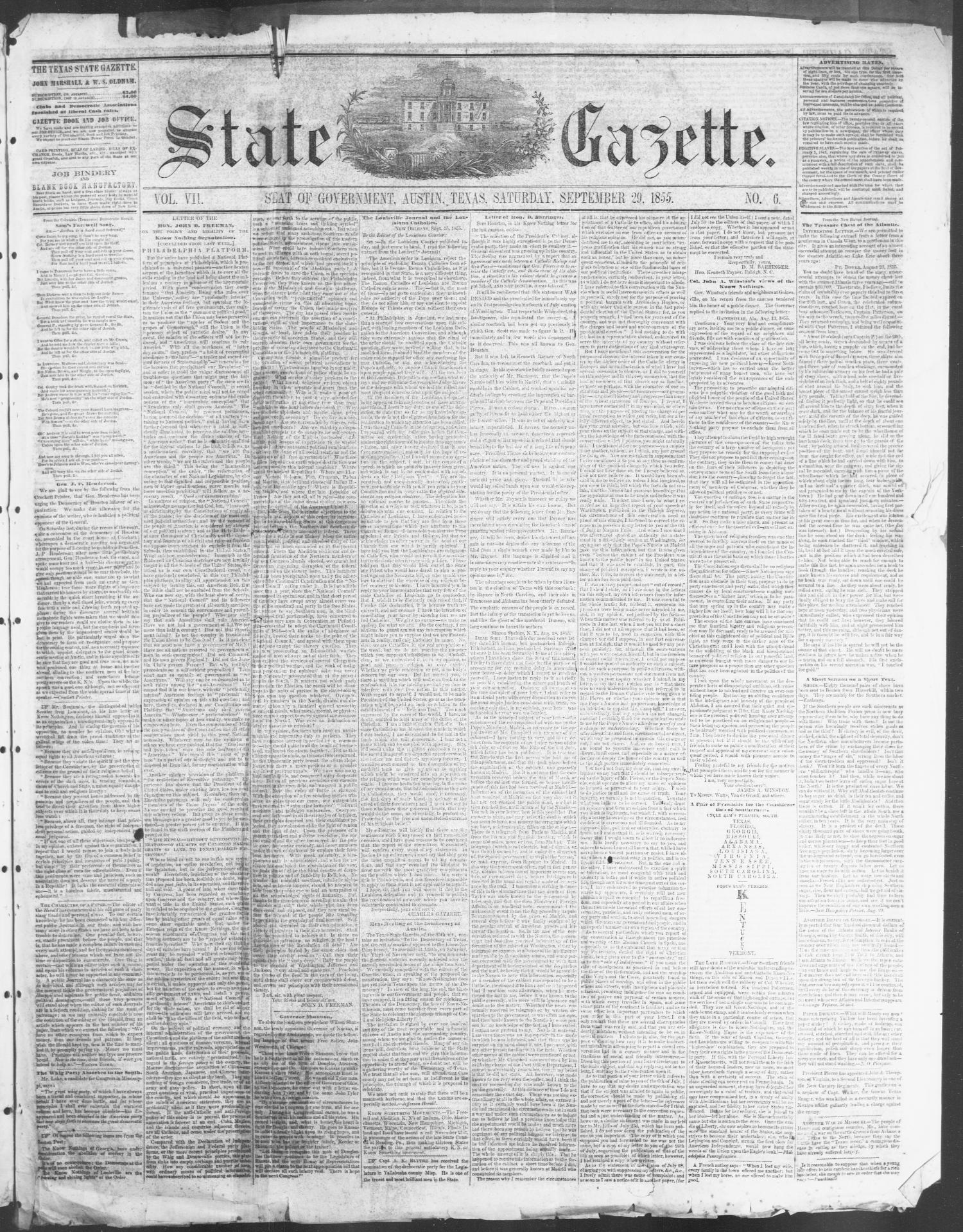 State Gazette. (Austin, Tex.), Vol. 7, No. 6, Ed. 1, Saturday, September 29, 1855                                                                                                      [Sequence #]: 1 of 4