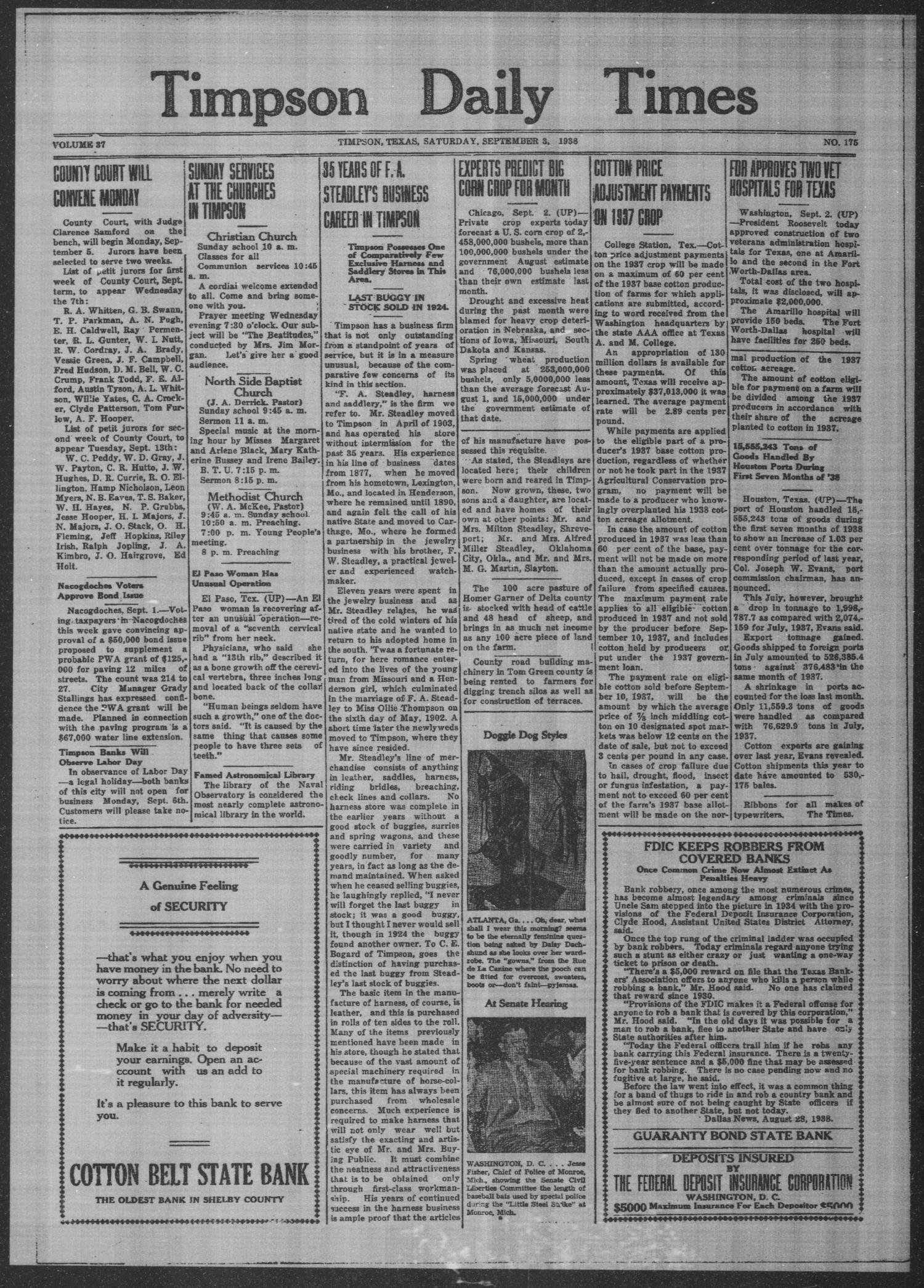 Timpson Daily Times (Timpson, Tex.), Vol. 37, No. 175, Ed. 1 Saturday, September 3, 1938                                                                                                      [Sequence #]: 1 of 4