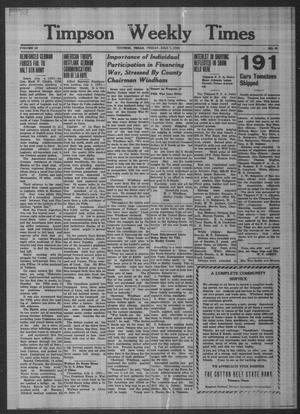 Primary view of Timpson Weekly Times (Timpson, Tex.), Vol. 59, No. 27, Ed. 1 Friday, July 7, 1944