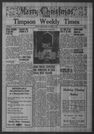 Primary view of object titled 'Timpson Weekly Times (Timpson, Tex.), Vol. 65, No. 51, Ed. 1 Friday, December 22, 1950'.
