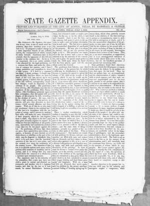 Primary view of object titled 'State Gazette Appendix. (Austin, Tex.), No. 53, Ed. 1, Tuesday, July 8, 1856'.