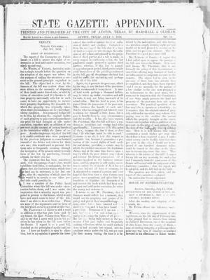 Primary view of object titled 'State Gazette Appendix. (Austin, Tex.), No. 54, Ed. 1, Wednesday, July 9, 1856'.