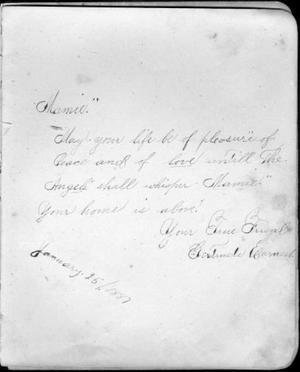 Primary view of object titled '[Page in an autograph album to Mamie from Gertrude Earnest]'.