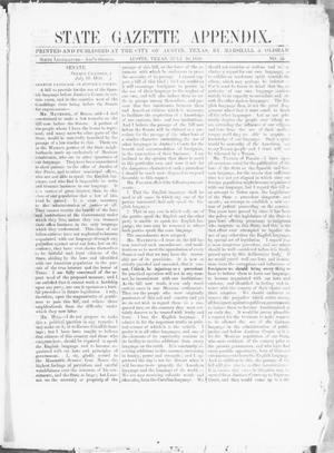 Primary view of object titled 'State Gazette Appendix. (Austin, Tex.), No. 55, Ed. 1, Thursday, July 10, 1856'.