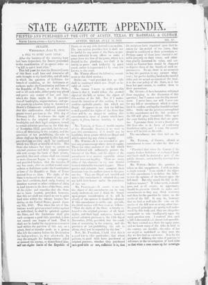 Primary view of object titled 'State Gazette Appendix. (Austin, Tex.), No. 57, Ed. 1, Wednesday, July 16, 1856'.