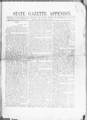 Primary view of object titled 'State Gazette Appendix. (Austin, Tex.), No. 73, Ed. 1, Monday, July 21, 1856'.