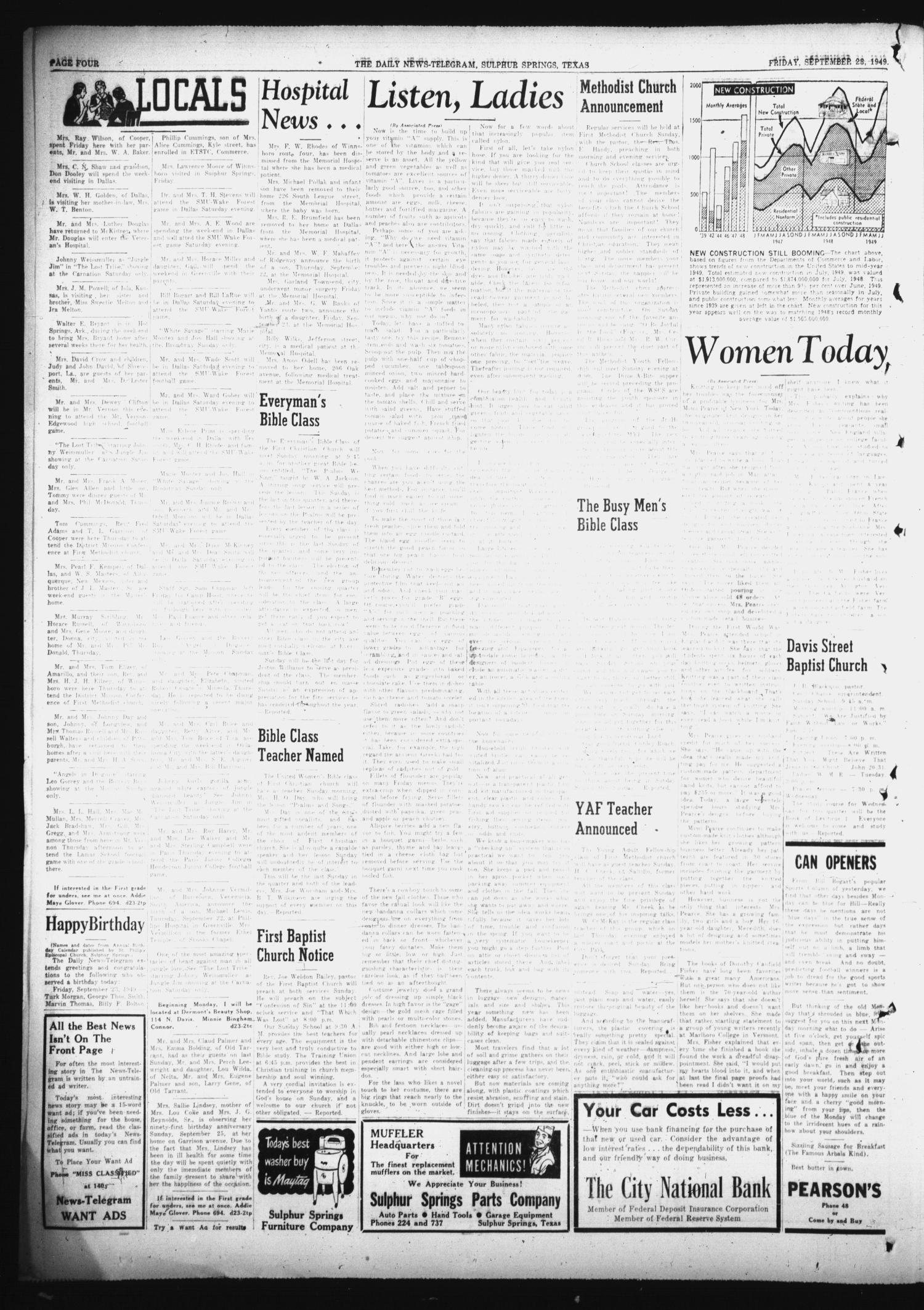 The Daily News-Telegram (Sulphur Springs, Tex.), Vol. 51, No. 227, Ed. 1 Friday, September 23, 1949                                                                                                      [Sequence #]: 4 of 8