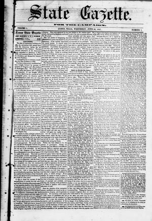 Primary view of object titled 'State Gazette for the Campaign. (Austin, Tex.), Vol. 1, No. 1, Ed. 1, Wednesday, June 24, 1857'.