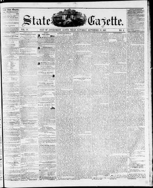 Primary view of object titled 'State Gazette. (Austin, Tex.), Vol. 9, No. 5, Ed. 1, Saturday, September 19, 1857'.