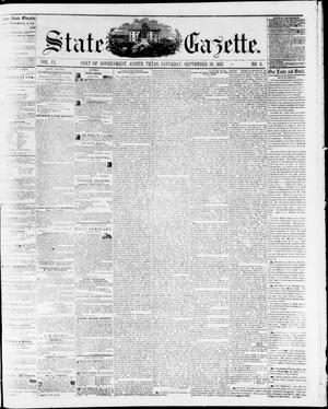 Primary view of object titled 'State Gazette. (Austin, Tex.), Vol. 9, No. 6, Ed. 1, Saturday, September 26, 1857'.