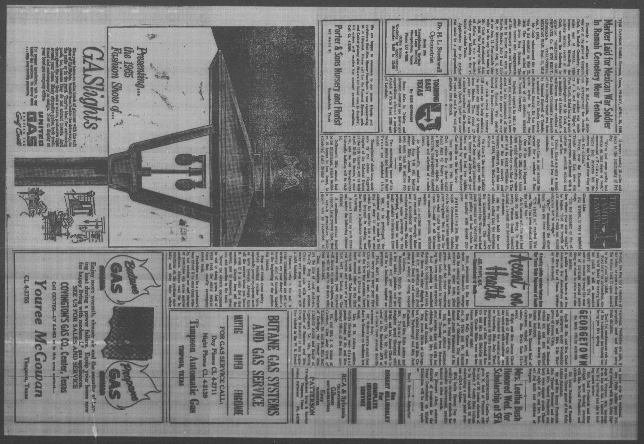 The Timpson Times (Timpson, Tex.), Vol. 80, No. 18, Ed. 1 Friday, April 30, 1965                                                                                                      [Sequence #]: 4 of 6