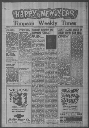 Primary view of object titled 'Timpson Weekly Times (Timpson, Tex.), Vol. 76, No. 52, Ed. 1 Friday, December 29, 1961'.