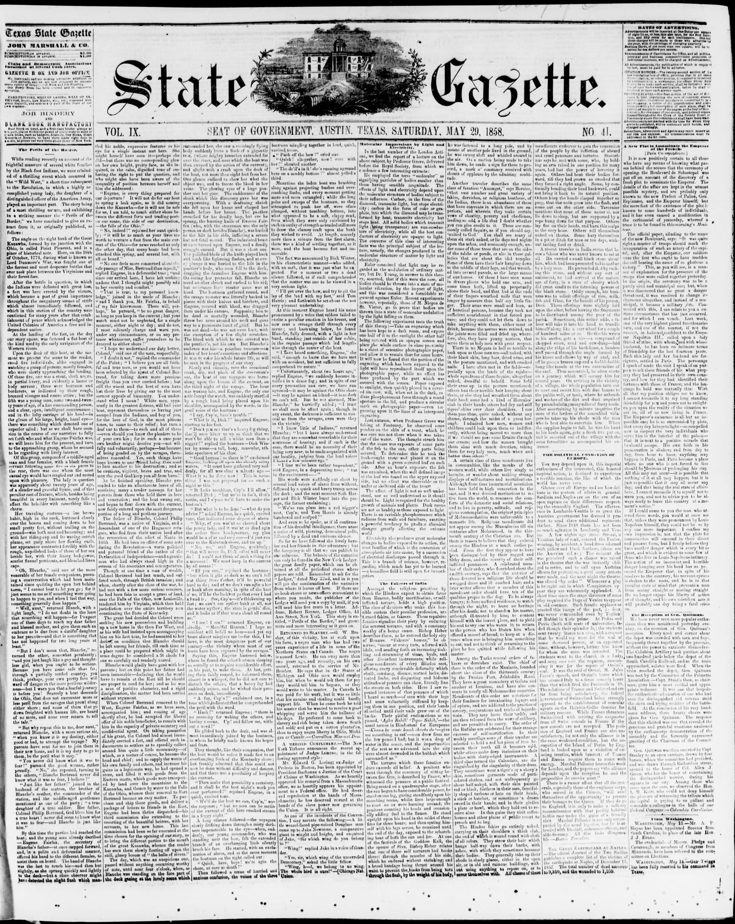 State Gazette. (Austin, Tex.), Vol. 9, No. 41, Ed. 1, Saturday, May 29, 1858                                                                                                      [Sequence #]: 1 of 5