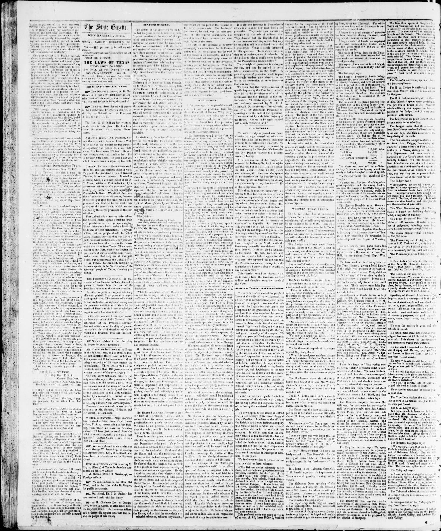 State Gazette. (Austin, Tex.), Vol. 10, No. 20, Ed. 1, Saturday, December 25, 1858                                                                                                      [Sequence #]: 2 of 4