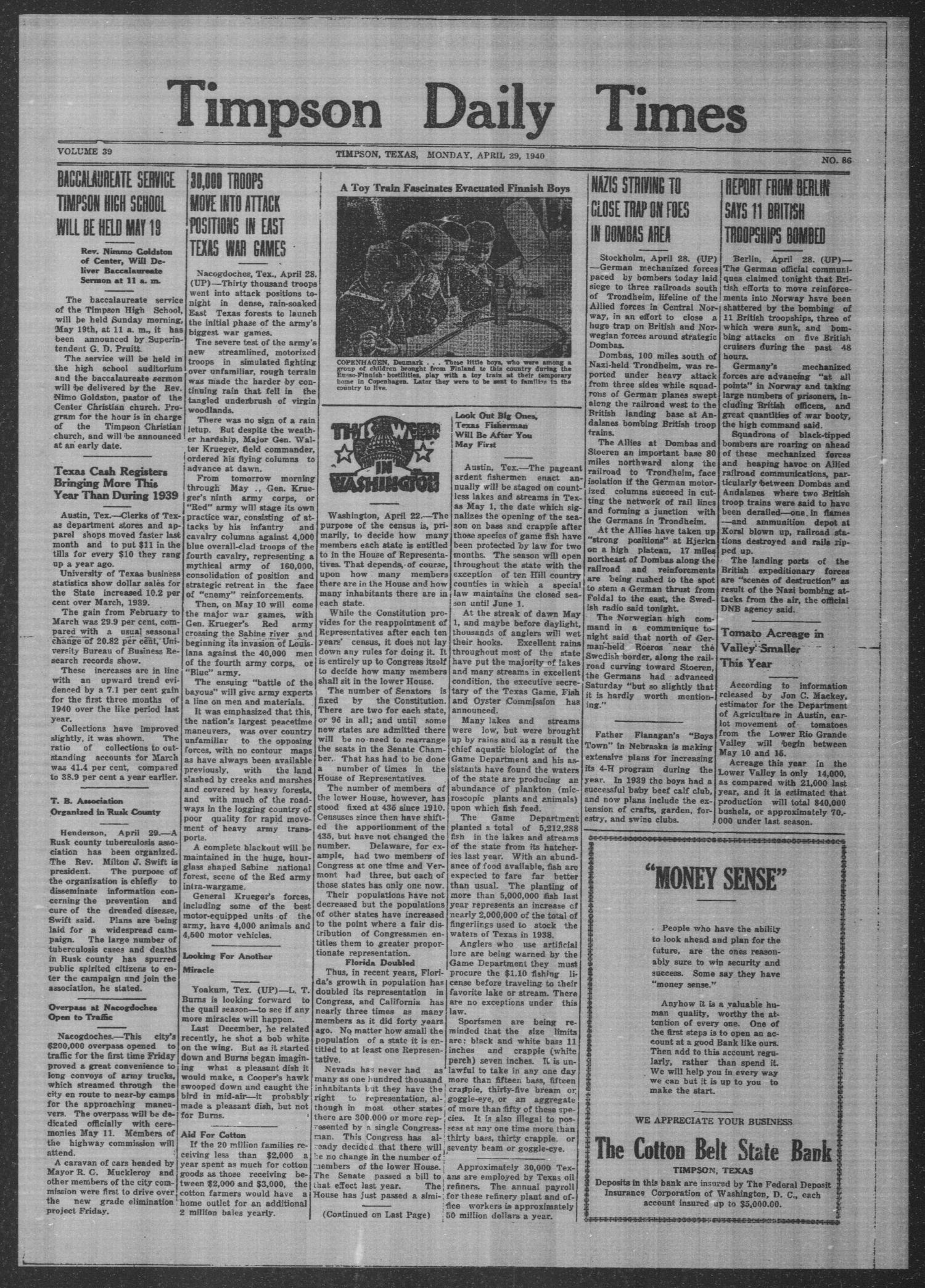 Timpson Daily Times (Timpson, Tex.), Vol. 39, No. 86, Ed. 1 Monday, April 29, 1940                                                                                                      [Sequence #]: 1 of 4