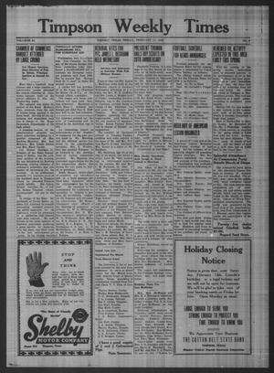Primary view of Timpson Weekly Times (Timpson, Tex.), Vol. 64, No. 6, Ed. 1 Friday, February 11, 1949