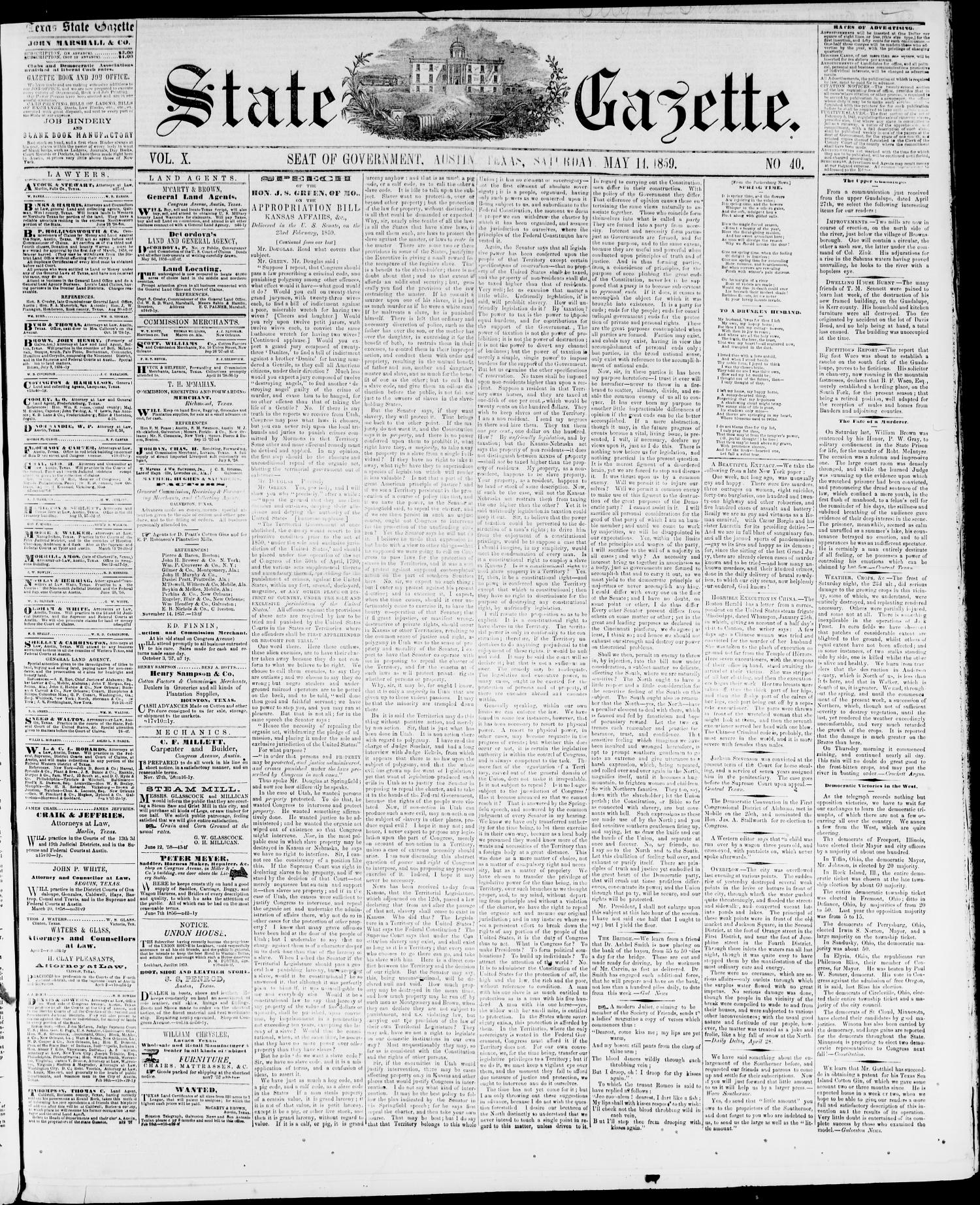 State Gazette. (Austin, Tex.), Vol. 10, No. 40, Ed. 1, Saturday, May 14, 1859                                                                                                      [Sequence #]: 1 of 4