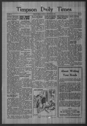 Primary view of object titled 'Timpson Daily Times (Timpson, Tex.), Vol. 42, No. 194, Ed. 1 Saturday, September 25, 1943'.