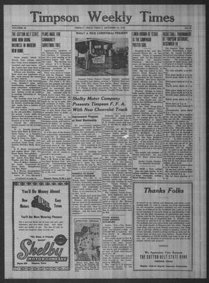Primary view of object titled 'Timpson Weekly Times (Timpson, Tex.), Vol. 63, No. 49, Ed. 1 Friday, December 10, 1948'.