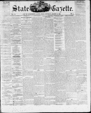 Primary view of State Gazette. (Austin, Tex.), Vol. 11, No. 2, Ed. 1, Saturday, August 20, 1859